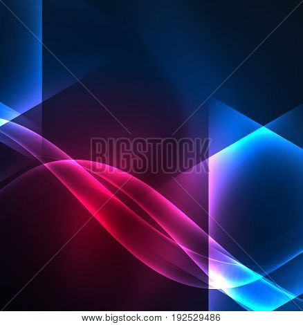 Glowing geometric shapes in dark space background