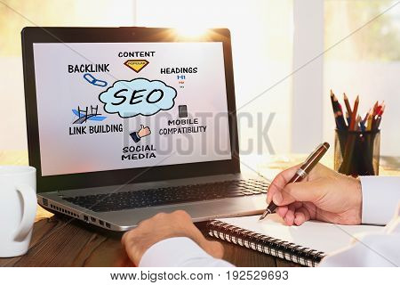 Search Engine Optimization (SEO) Concept On Computer Screen
