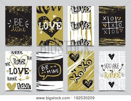 St. Valentine's Day hand drawn greeting cards designs with doodle sketch love inscriptions and hearts in trendy golden and black colors
