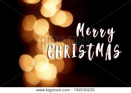 Merry Christmas Text Sign On Garland Lights At Winter Seasonal Holidays. Decorations Outdoors. Magic