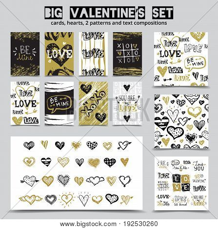 Big hand drawn St. Valentine's Day set with love doodle sketch lettering compositions, hearts, seamless patterns and greeting card designs