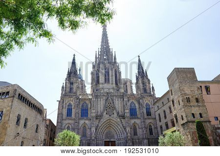 Barcelona Spain - scenic view of the gothic Cathedral of the Holy Cross and Saint Eulalia