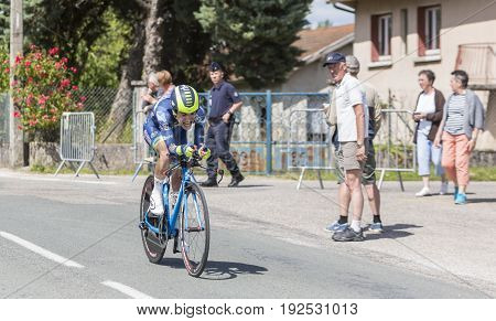 Bourgoin-Jallieu France - 07 June 2017: The French cyclist Guillaume Martin of Wanty-Groupe Gobert Team riding during the time trial stage 4 of Criterium du Dauphine 2017. Valverde is a strong contender for the final podium of the race.
