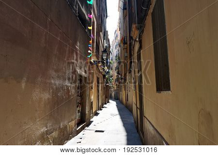 Barcelona Spain - an alley of Barceloneta district