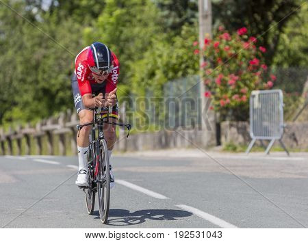 Bourgoin-Jallieu France - 07 June 2017: The Belgian cyclist Tiesj Benoot of Lotto-Soudal Team riding during the time trial stage 4 of Criterium du Dauphine 2017.