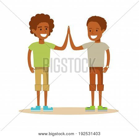 Pupils giving each other a high five. TwoYoung African American boy. Cartoon character illustration Isolated on white background. Stock vector for poster, greeting card, website, ad.