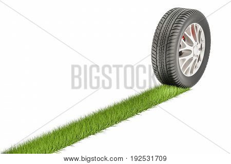 Car tire with grass print eco concept. 3D rendering isolated on white background