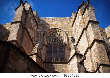 Barcelona Spain Barri Gotic district - facade of a medieval gothic building