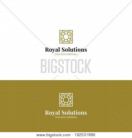 Abstract royal minimalistic logo with top view diamond in golden color. Vector symbol