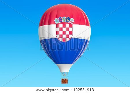 Hot air balloon with Croatian flag 3D rendering