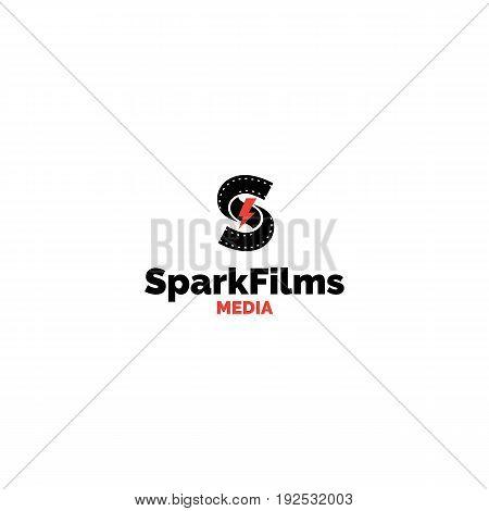 S letter production studio logo. Creative spark and film tape vector media symbol