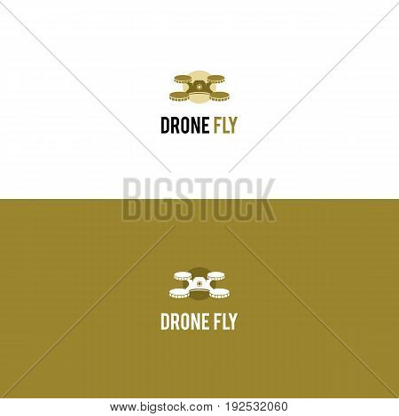Creative multirotor helicopter logo with coins instead of rotors. Drone vector logo