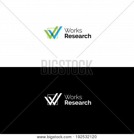 Creative W letter logo of two check signs in the checkbox. Workers search service vector symbol