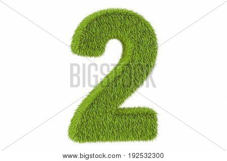 number 2 from grass 3D rendering isolated on white background