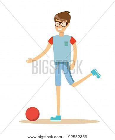 Young soccer player kicking a ball, sport casual young man a footballer beating on a ball on a white background. Cartoon character illustration