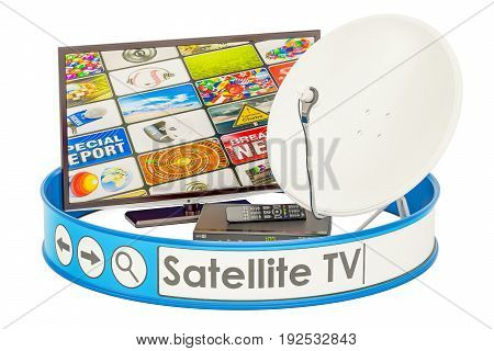 Satellite TV concept 3D rendering isolated on white background