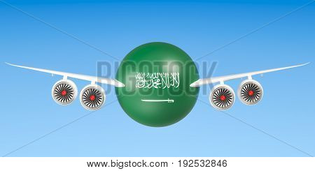 Saudi Arabia airlines and flying's concept. 3D rendering