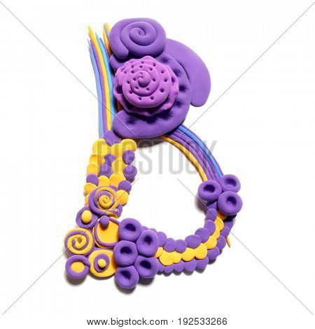 Plasticine letter B . Color plasticine alphabet, isolated.