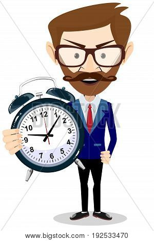 Man with an alarm clock, time management. Cartoon character illustration of adult businessman Isolated on white background. Stock vector illustration