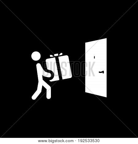 Door Delivery Icon with Man and Box Isolated Illustration