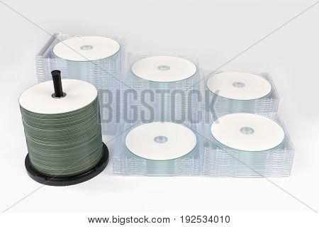 Multiple Stacks Dvd / Cd Boxes On Light Gray Background
