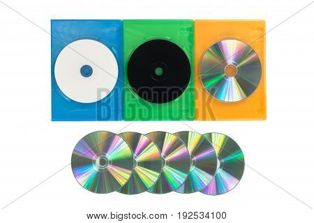 Several Colored Dvd / Cd Boxes On Isolated White Background