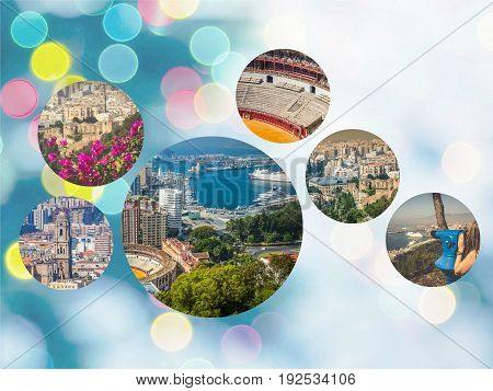 Collage of Panoramic view of Malaga bullring and harbor Spain