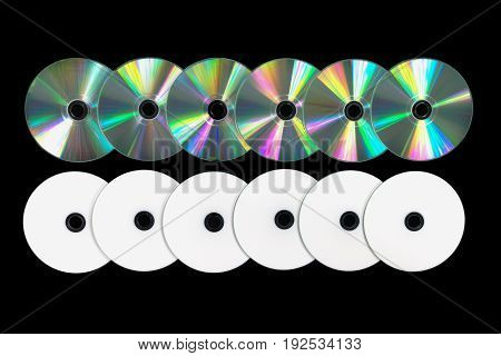 Several Dvd / Cd On Black Background