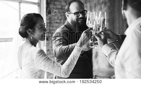 Group of Diverse People Clinking Wine Glasses Together