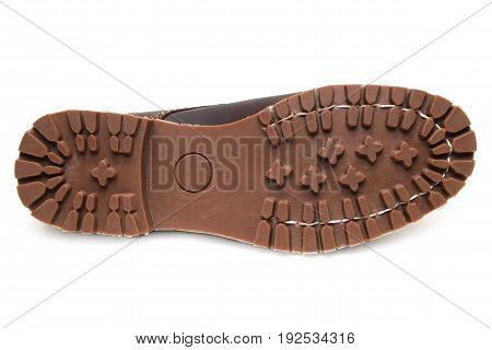 anti-slip rubber soles and full grain nubuck leather boots isolated on white background.