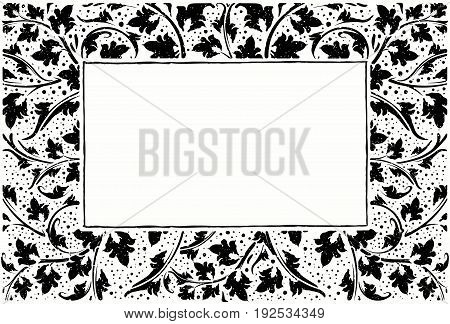 Black Frame With Collection Of Plants, Grunge Style With Drops.