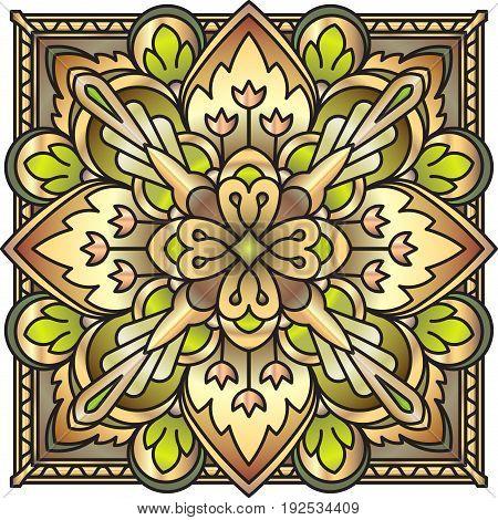 Decorative Ornate Rich Decorated Square Mandala In Golden Tones With Imitation Of Precious Stone. Vi