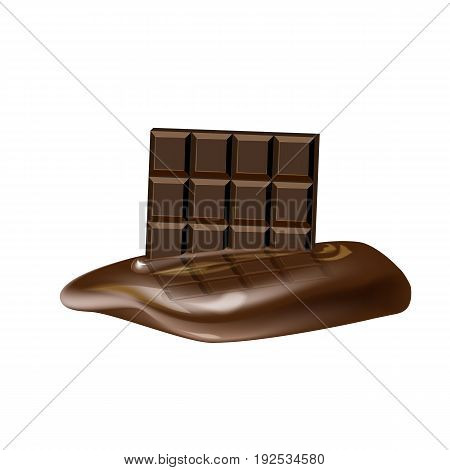 A chocolate bar melts on a white background. Vector illustration.