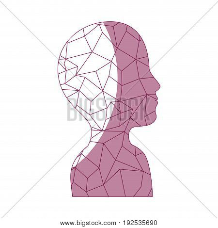 silhouette of avatar man with abstract shapes icon over white background vector illustration