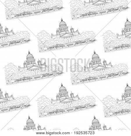 St. Isaac's Cathedral sketching seamless pattern on white background. Saint Petersburg, Russia. Vector illustration for your design