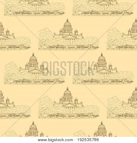 St. Isaac's Cathedral sketching seamless pattern on beige background. Saint Petersburg, Russia. Vector illustration for your design