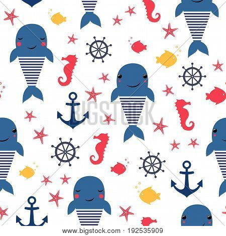 Seamless sea pattern: whale, fish, anchor, seahorse. Cute nautical background. Marine life background. Design for fabric textile decor