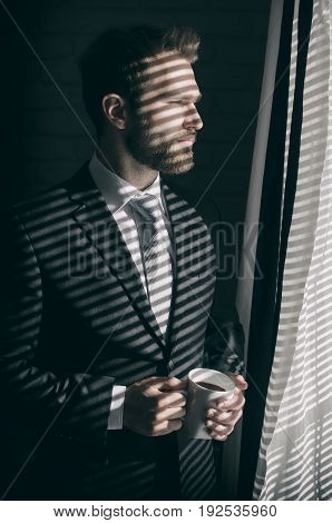 Handsome Young Bearded Businessman Is Looking Out The Window
