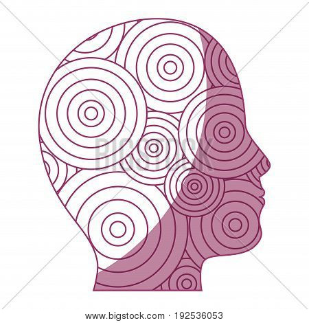 human head with circular shapes icon over white background vector illustration