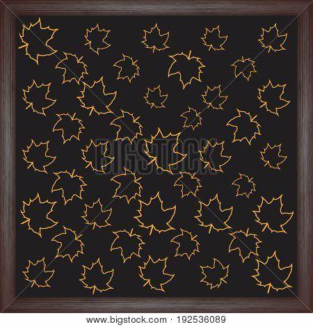 Color maple leaf on chalkboard background. Vector illustration for your design