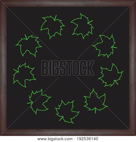 Color wreath maple leaf on chalkboard background. Vector illustration for your design