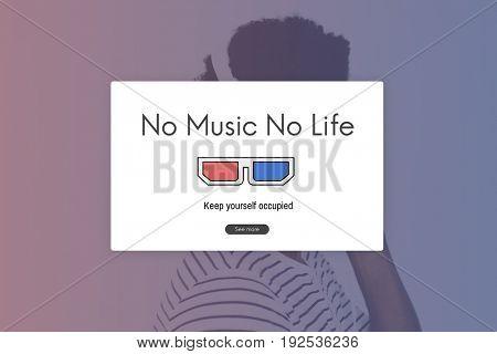 Adult Man Listen Music Entertainment Leisure Activity Word Graphic