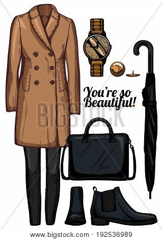 Vector illustration of women fashion clothes look set. English double breasted camel coat skinny jeans golden watch black chelsea boots structured bag classic umbrella.