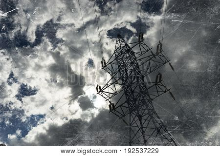 Vintage black and white power line city background hd