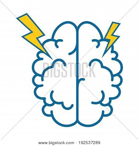 brain with thunders icon over white background vector illustration