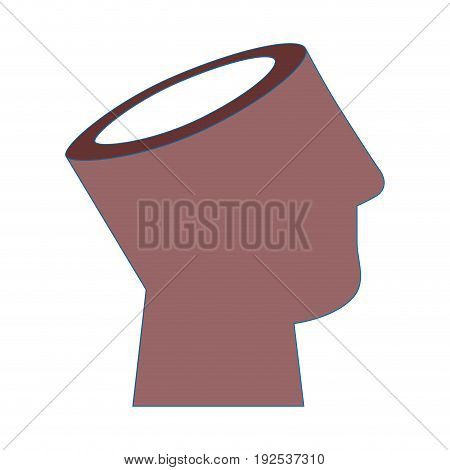 human head icon over white background vector illustration