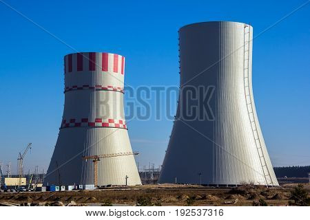 Construction of cooling towers of Novovoronezh Nuclear power plant