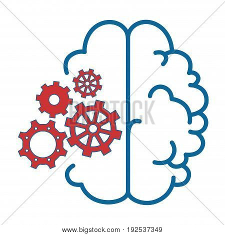 brain with gear wheels icon over white background vector illustration