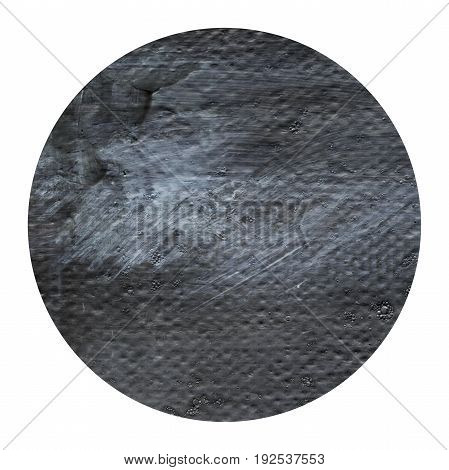 Acrylic abstract dark grey black circle isolated on white background. Modern spot of round shape painted in oil in dark gray color. Monochrome grey acrylic texture. Circle with copyspace for text.