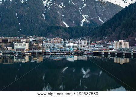 Beautiful harbor at the entrance to Juneau Alaska